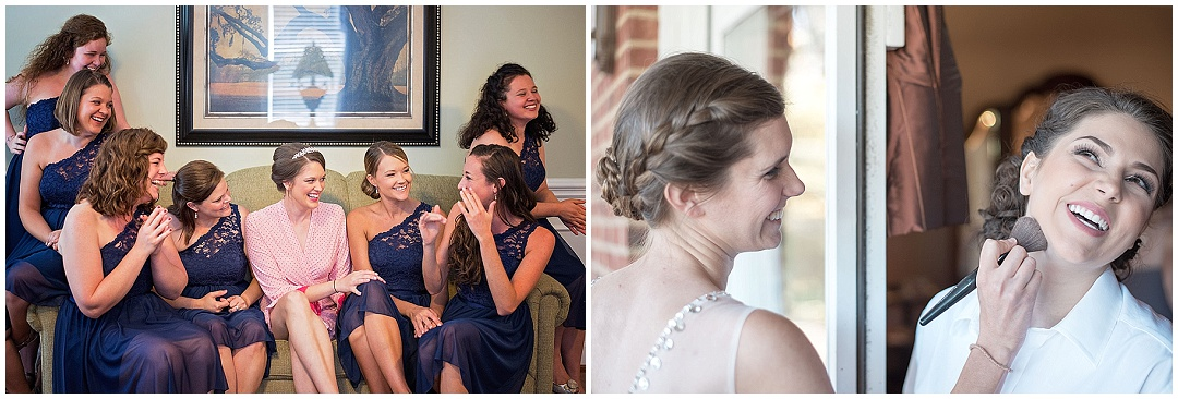 bridesmaids laughing with the bride