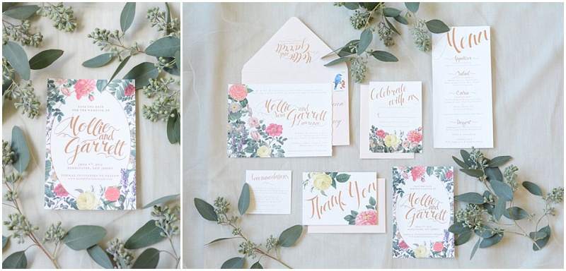 Lavender and Love Creative save the dates with rose gold foil and greenery