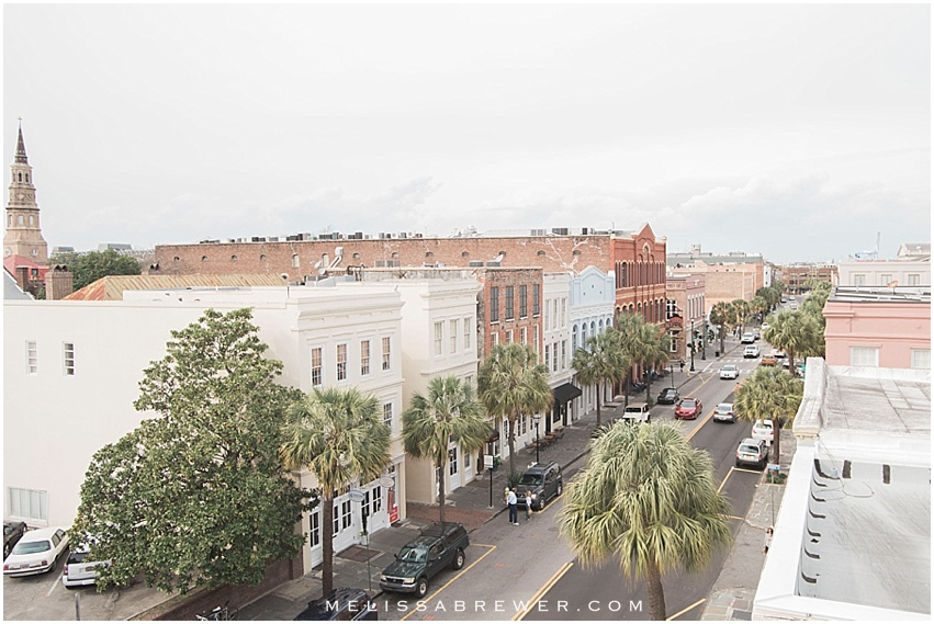 View of East Bay Street in Charleston, SC from the roof of a parking garage