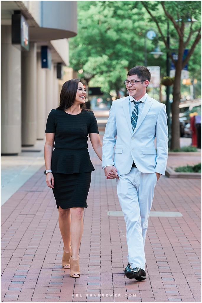 engagement session on Main Street in Columbia, SC