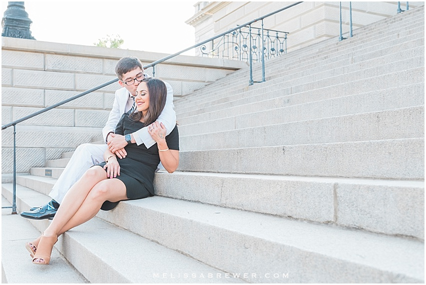 engagement photos on SC Statehouse steps