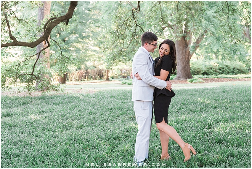 engagement session with laughter on SC Statehouse grounds