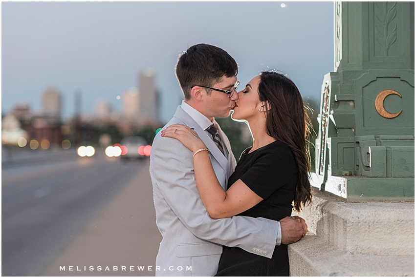 backlit OCF off camera flash engagement photo on Gervais Street bridge during blue hour in Columbia, SC