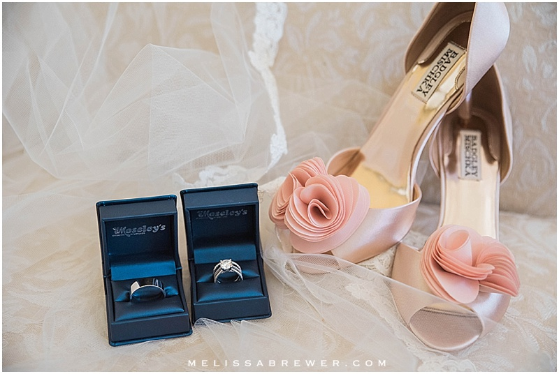 Wedding details shoes Badgley Mishka ring shot Moseley's Diamond Showcase wedding photographer in Columbia SC