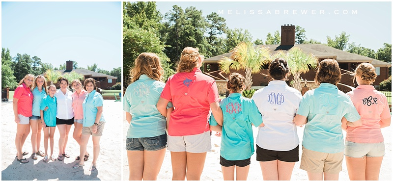 monogrammed fishing shirts by Columbia Sportswear bride and bridesmaids getting ready photography