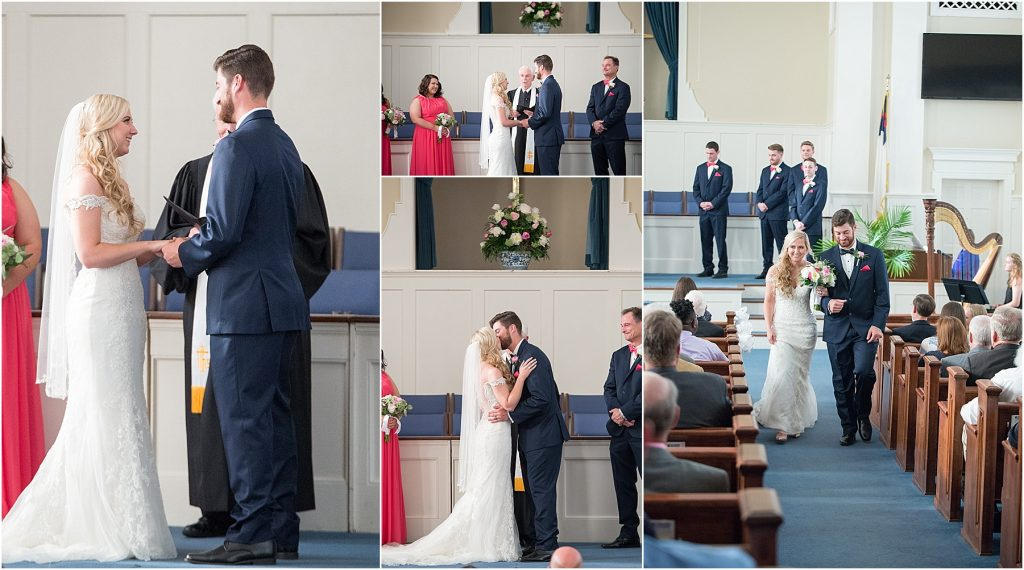 Wedding ceremony with southern charm at First Baptist Church in Manning, SC Sumter SC Charleston sC wedding photographer melissa brewer