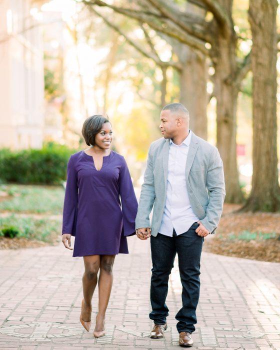 engagement session at USC horseshoe sc wedding photographer black engagement session black wedding photographer