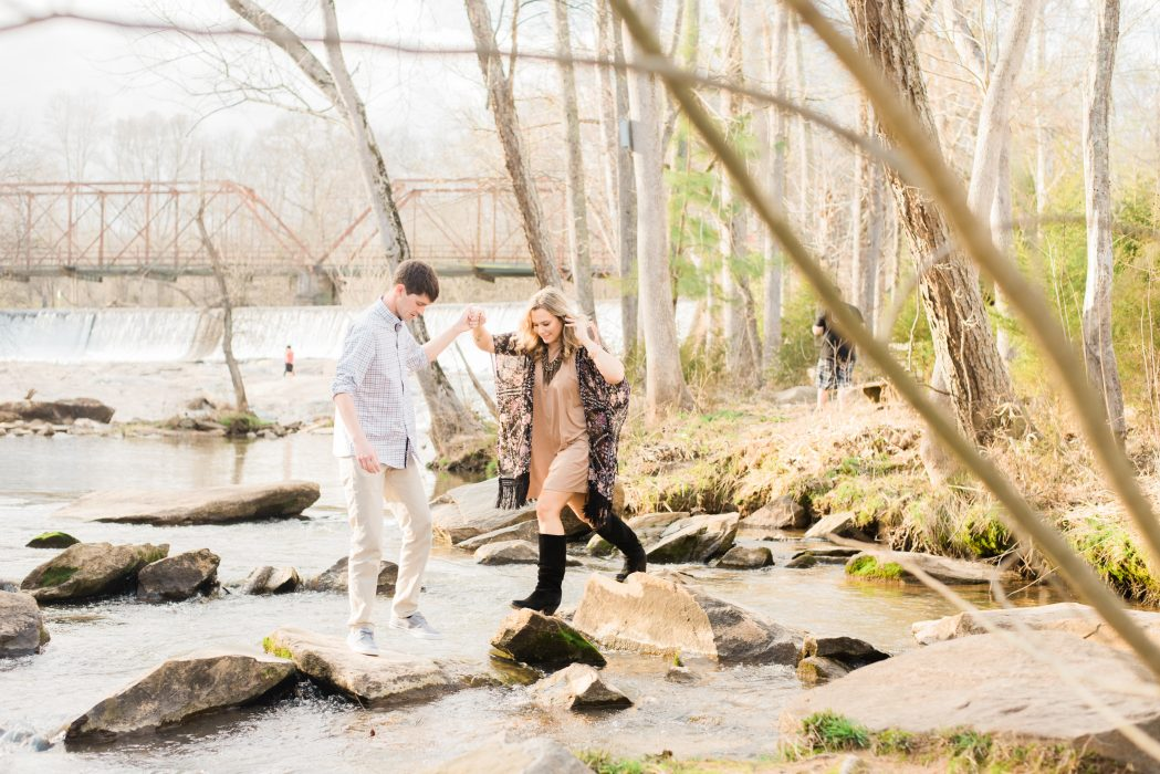 greenville engagement session greenville sc engagement session in the woods mill engagement creek mountains rocks engagement photographer SC wedding photographer
