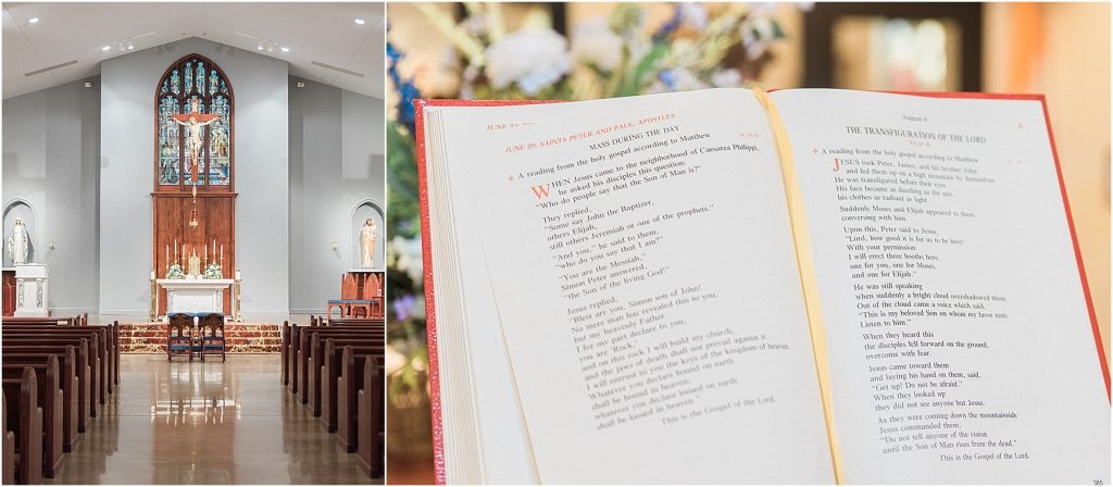 our lady of the lake catholic church wedding in sc and close up of bible