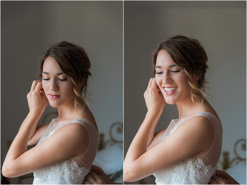 cortona italy tuscan arrezzo bride putting on her earrings and smiling beautiful window light