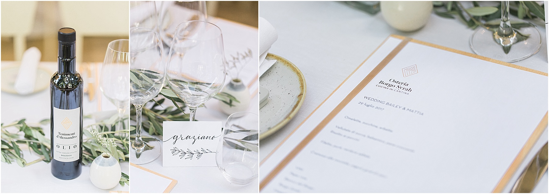 decor and beautiful bomboniere wedding favors ceramiche pottery at Osteria Borgo Syrah in Cortona Italy tablescape menus calligraphy in Italian wine glasses olio evoo