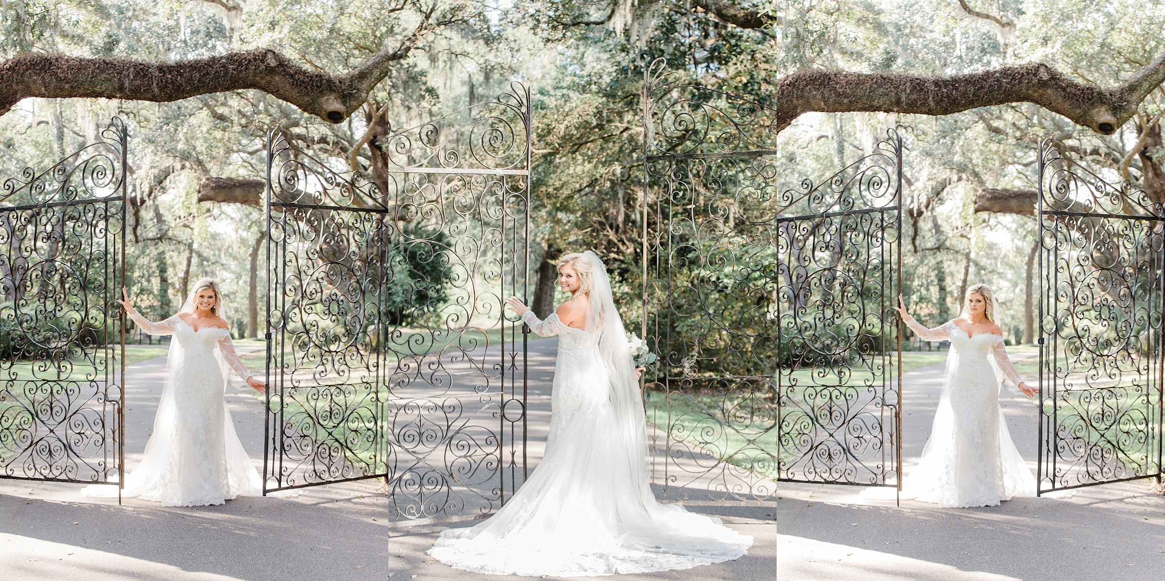 front gate legare waring house charles towne landing bridal portraits hybrid wedding photographer film photographer in SC