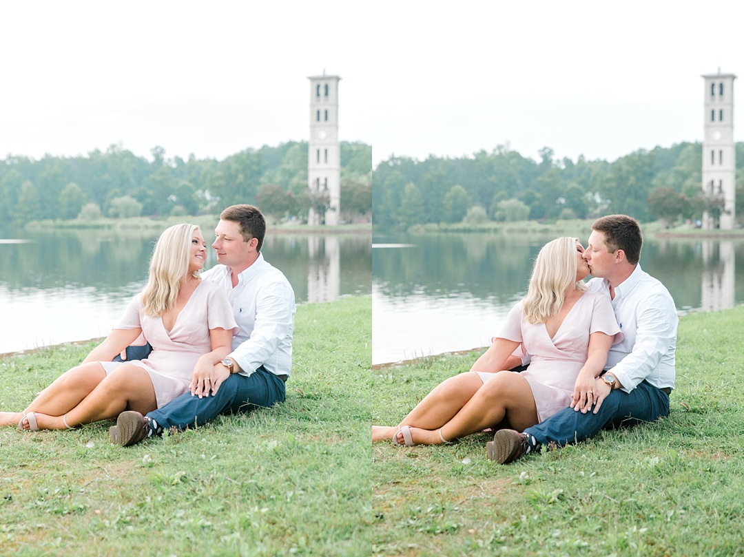 furman engagement session greenville sc engagement wedding photographer in greenville sc furman university belltower lake engagement