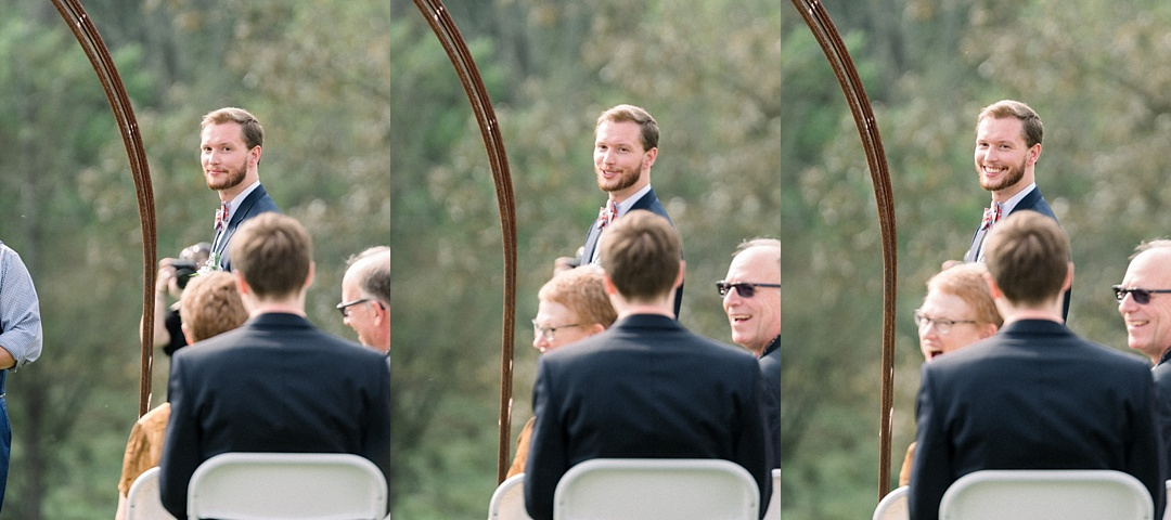 groom's reaction to seeing bride smiling elopement in asheville nc weddings