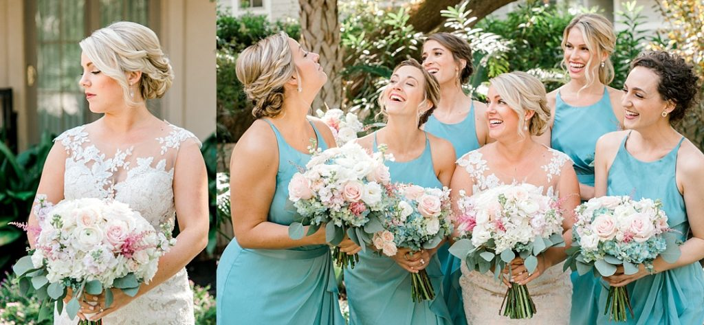 bridesmaids in blue dresses getting ready wedding photography hilton head island wedding photographer beach destination wedding photographer