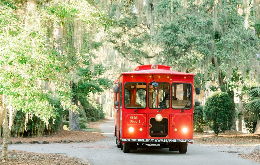 sea pines trolley hilton head island wedding spanish moss photography