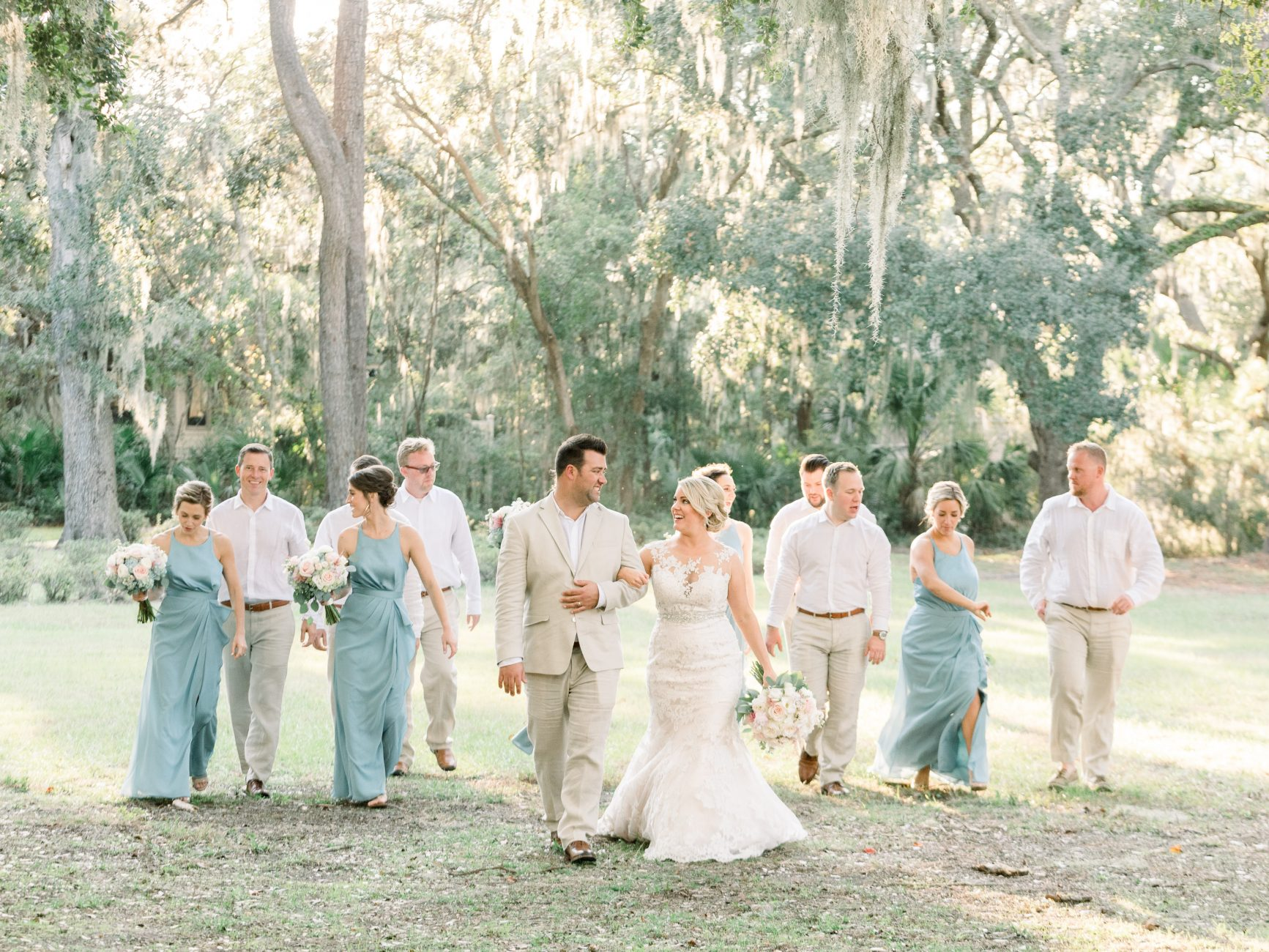 hilton head island wedding photographer wedding party sea pines resort spanish moss 24 sandhill crane blue wedding party group