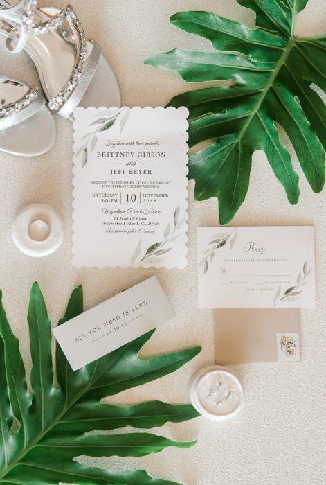 south carolina wedding photography wedding flatlay details with plants