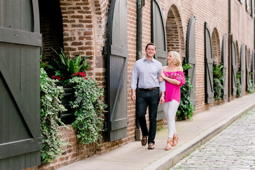 charleston engagement session cobblestone streets charleston sc engagement charleston wedding photographer sc film photographer sc wedding photographer southern wedding engagement photographer