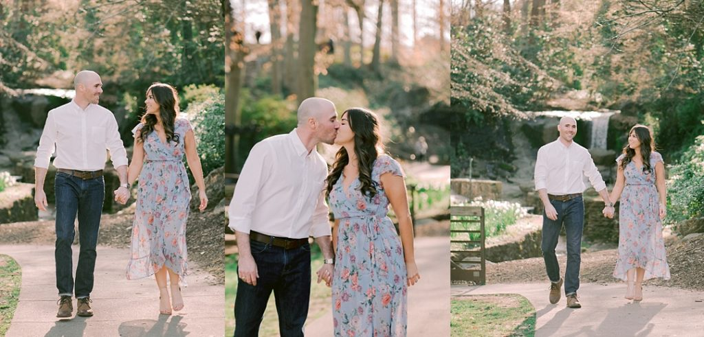 greenville sc engagement session walking in falls park blue dress springtime