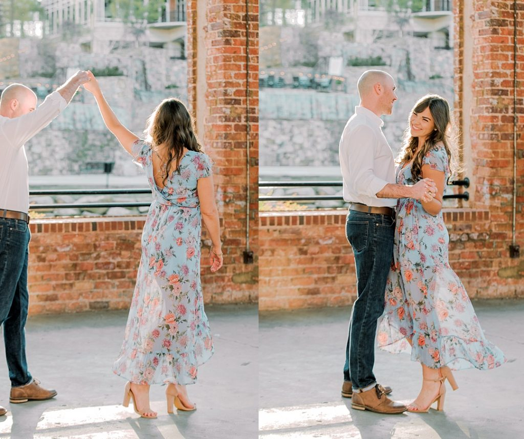 wyche pavilion greenville sc engagement session melissa brewer photography larkins on the river weddings in greenville sc bride and groom dancing future husband and wife dancing in wyche pavilion