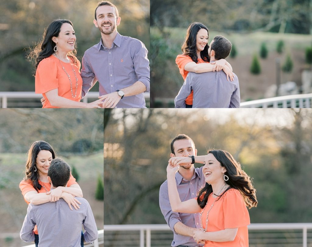 Cancer survivor's park engagement session in greenville sc couple in clemson colors dancing engagement session