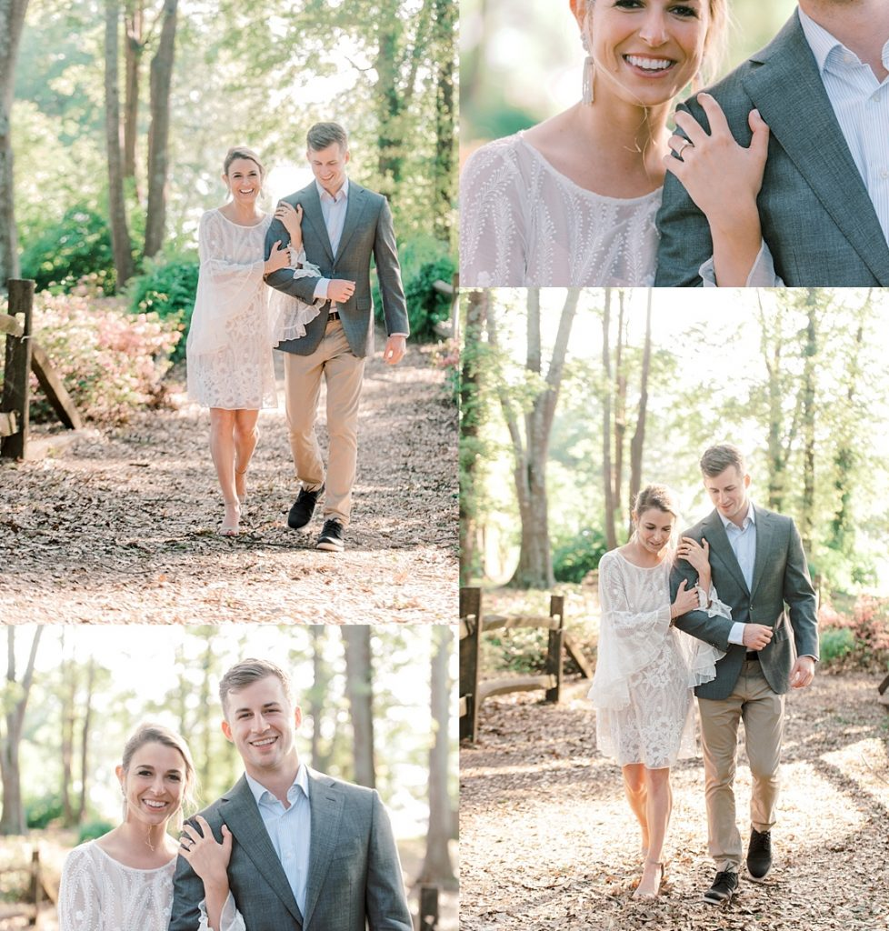 engaged couple walking in the woods at clemson university engagement session upstate sc greenville sc engagement photography
