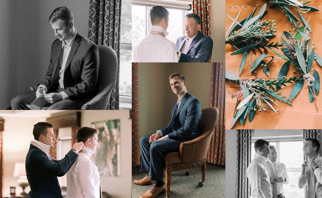 groom and groomsmen  getting ready for clemson wedding madren center james martin inn clemson sc wedding photographer