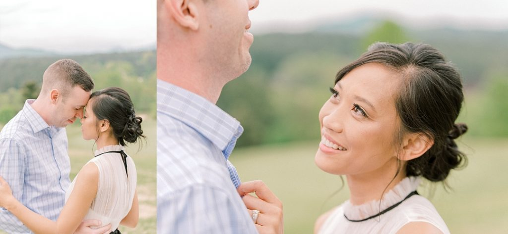 reserve at lake keowee engagement couple overlooks mountain view upstate sc engagement photography