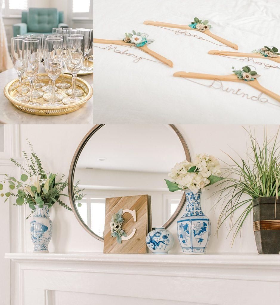 165 spring street charleston sc destination wedding details and flatlay blue and white bright film wedding photography