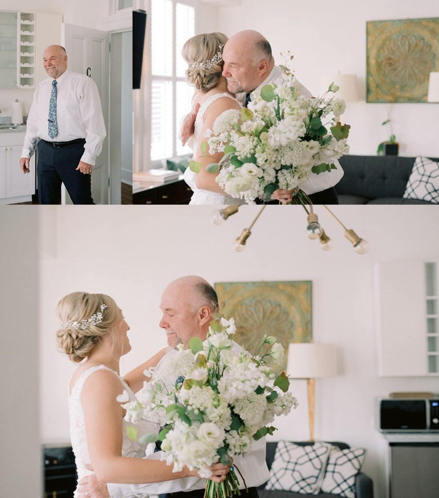 bride first look with father charleston sc