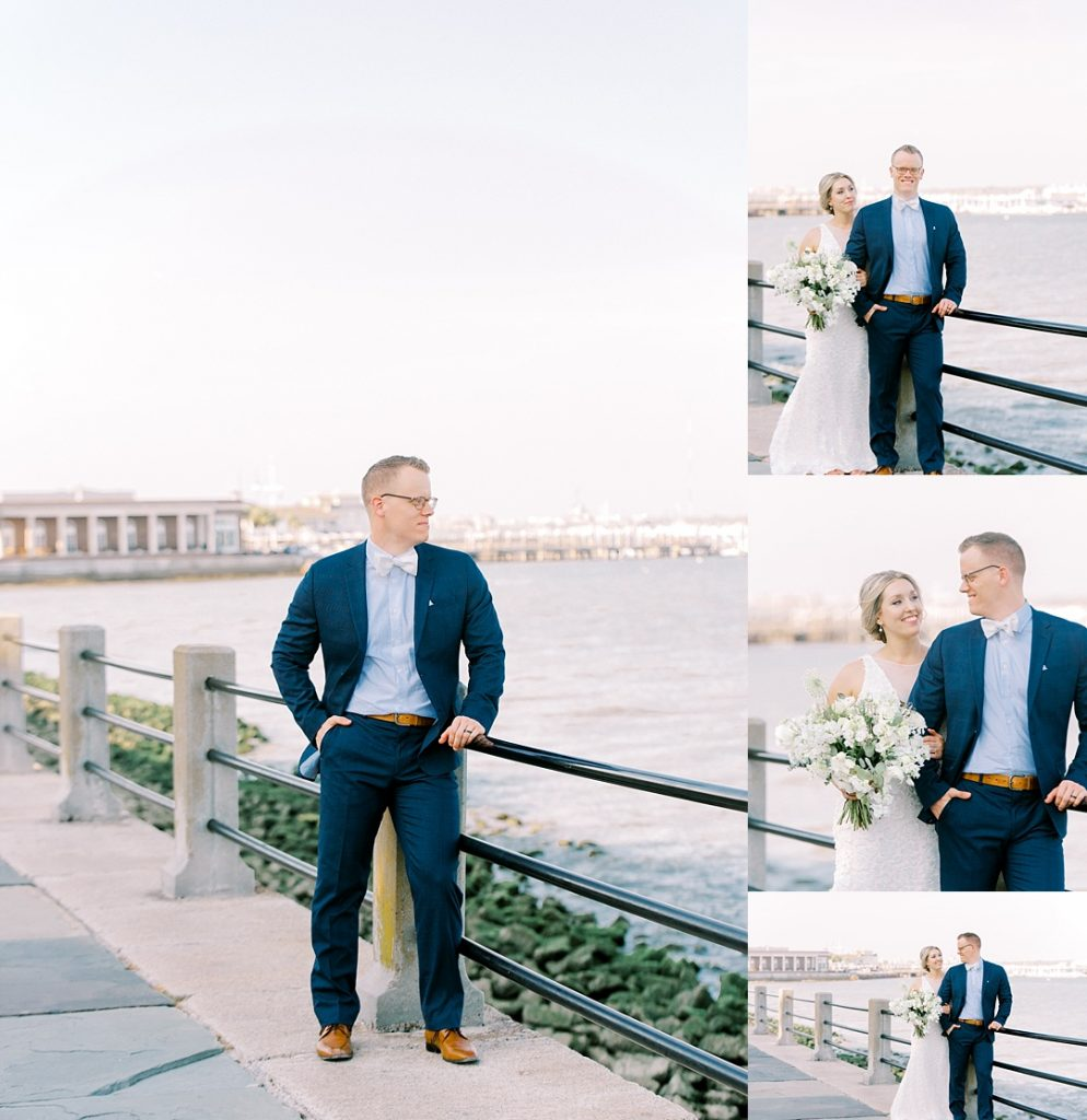 charleston battery bride and groom portraits white point garden wedding elopement at charleston battery