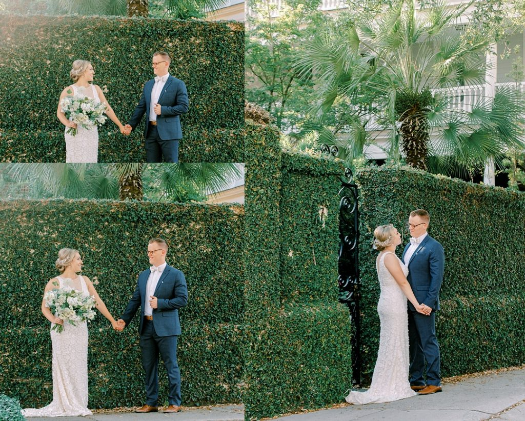 downtown charleston ivy wall portraits of bride and groom in historic charleston with greenery wall wedding photography