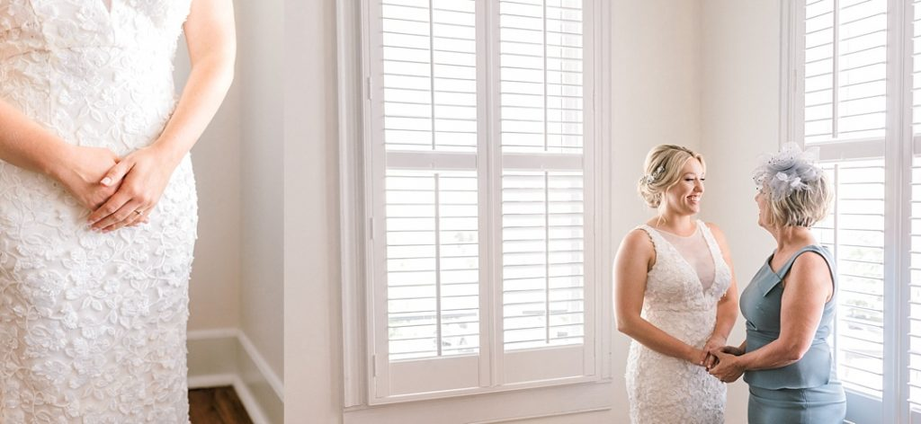 bride and her mother getting ready charleston destination elopement