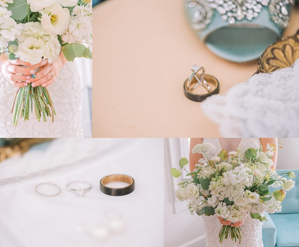 charleston elopement wedding details ring closeups flowers and bridal bouquet blue and pink wedding