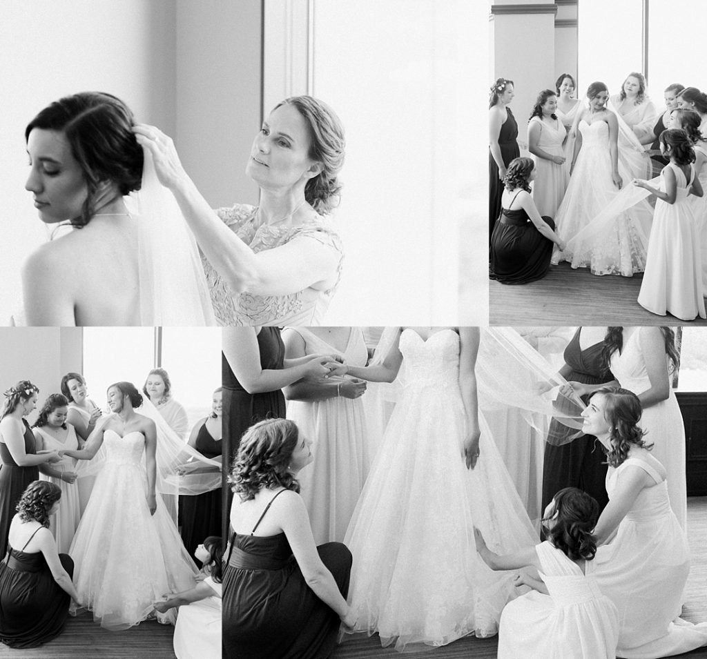 commerce club wedding greenville sc bride and bridesmaids getting ready
