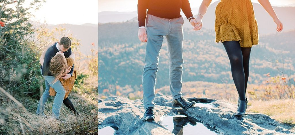 asheville mountain engagement session hand holding and dip kiss
