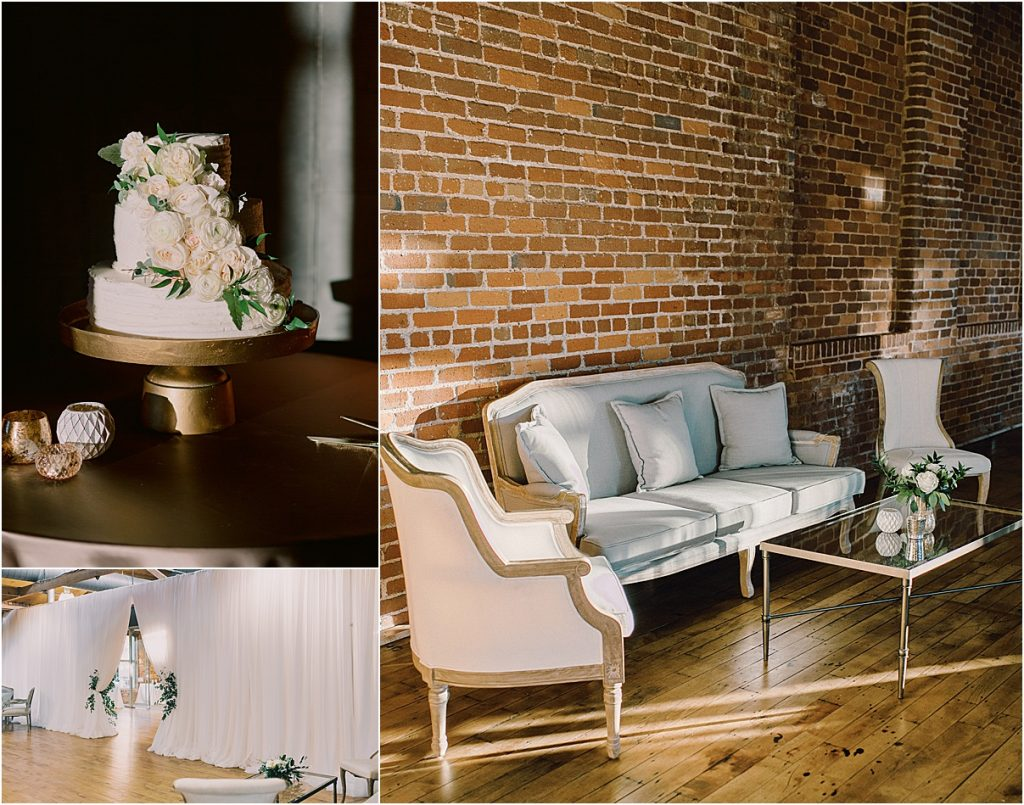 huguenot mill huguenot loft wedding in greenville sc downtown greenville sc wedding decor sitting area wedding cake katie williams events melissa brewer photogrpahy