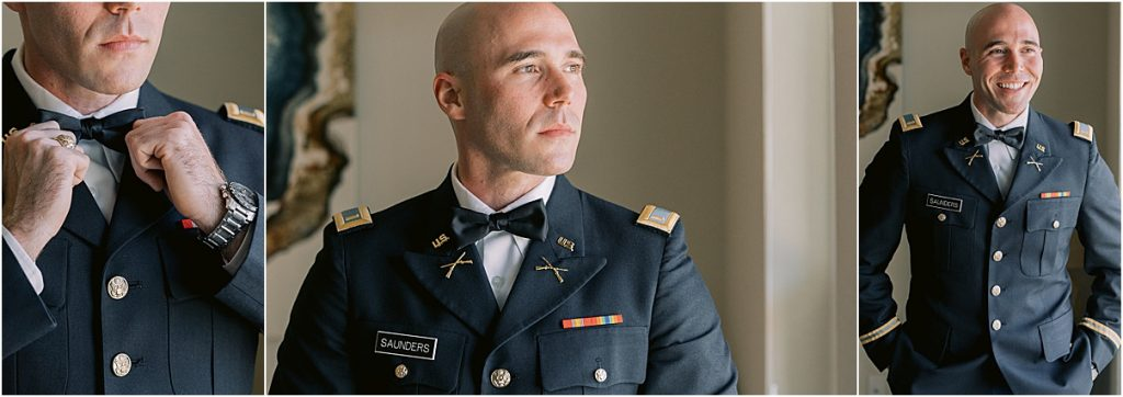 groom portrait and details in army uniform dress blues charleston wedding at the citadel