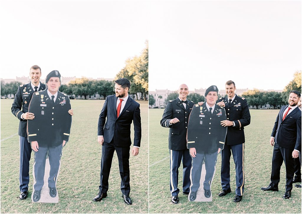 Groom and groomsmen with lifesize cutout of deployed friend and classmate