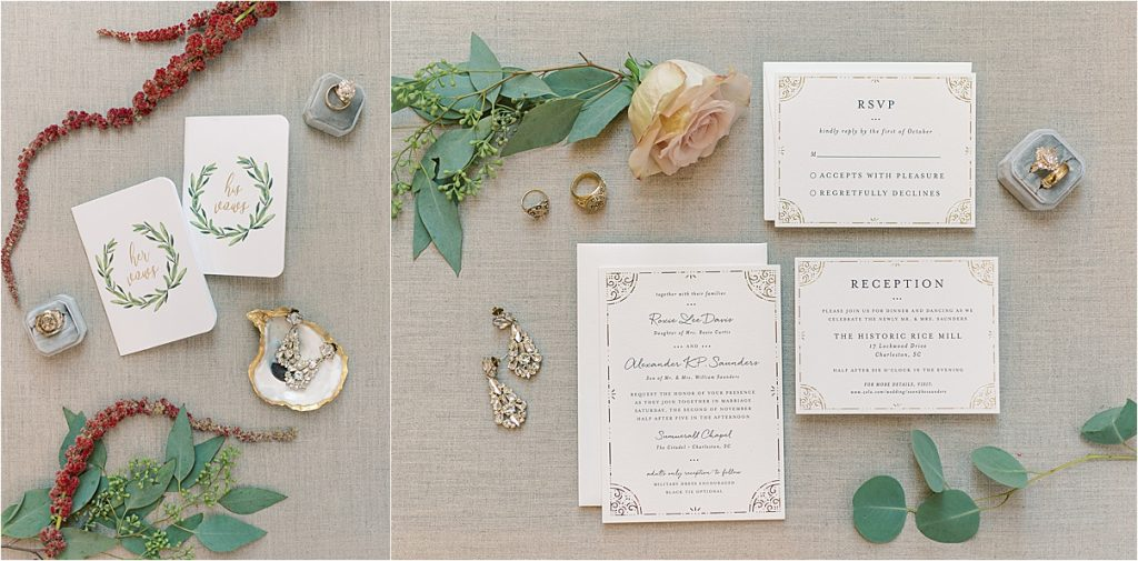 charleston wedding photographer flat lay wedding details with oyster shell invitation suite wedding details citadel historic rice mill