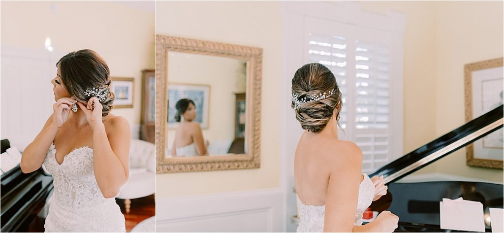 bride getting ready for her Charleston wedding at the citadel, putting on earrings and looking in mirror