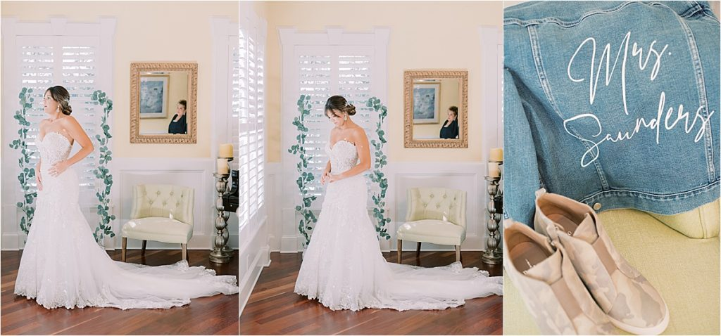 bride getting ready in charleston personalized calligraphy denim jacket camo wedges