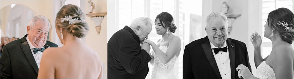 grandfather first look with bride on wedding day