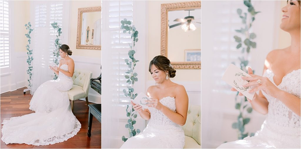 bride reading letter from groom on wedding day in charleston sc wedding photography
