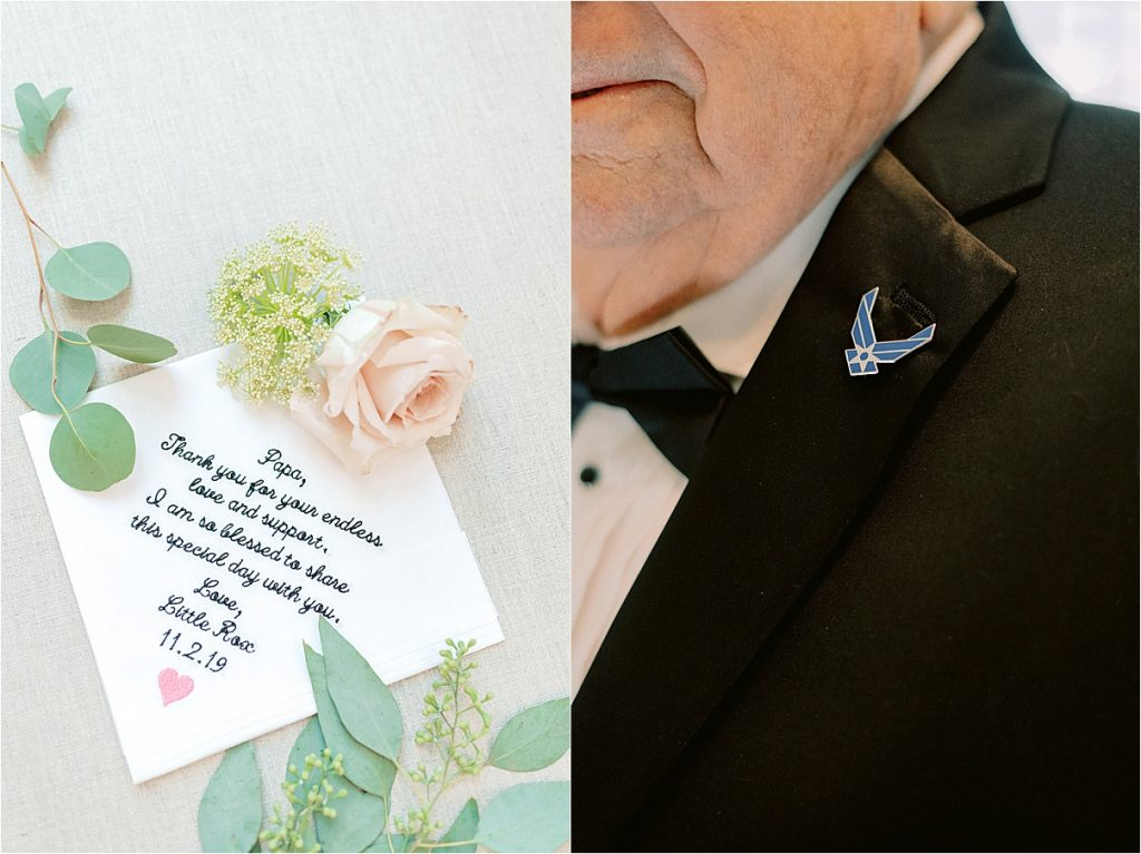 embroidered handkerchief for grandfather of bride and military pin detail army veteran wedding charleston sc citadel