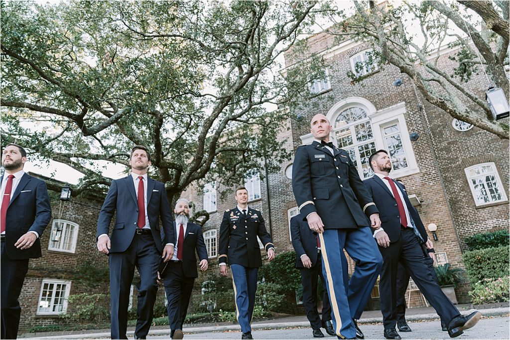 groom and groomsmen before charleston wedding at the citadel and historic rice mill