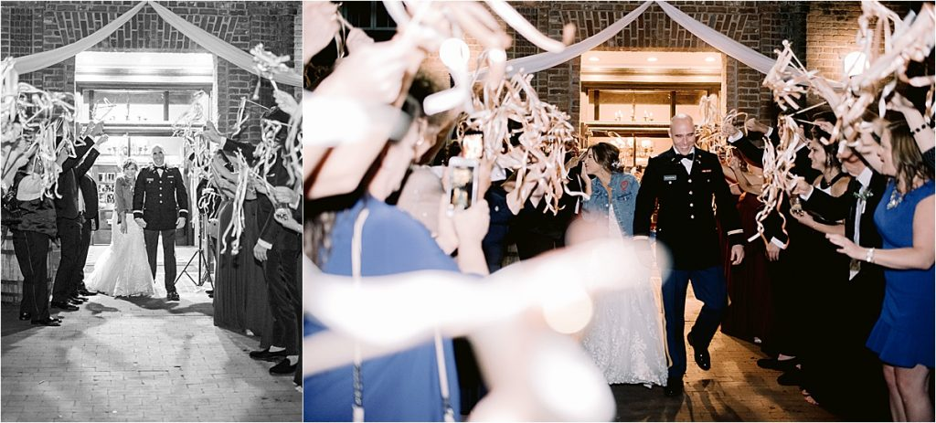 bride and groom kissing during ribbon exit sparkler exit historic rice mill charleston sc wedding