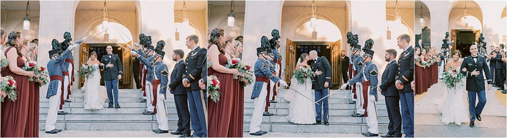 bride and groom leaving citadel chapel with sword salute