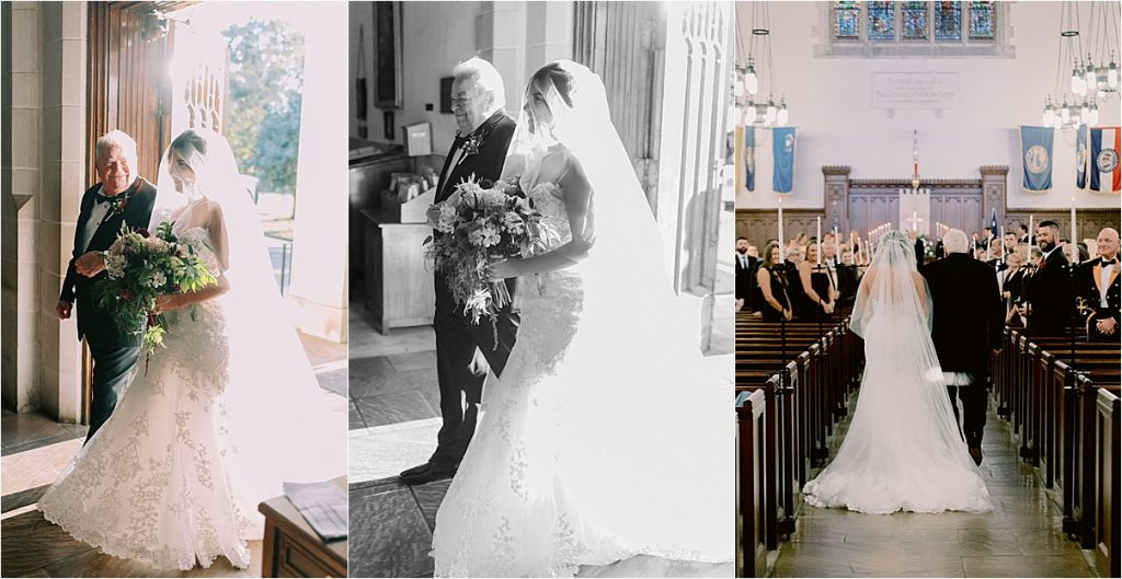 bride and her grandfather entering church wedding in charleston sc
